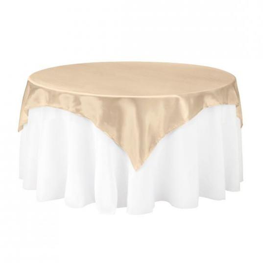 Beige Satin Table Overlay