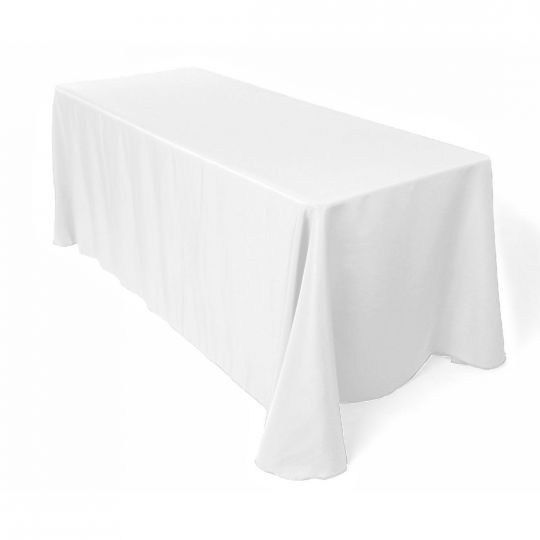 "90x156"" White Tablecloth"