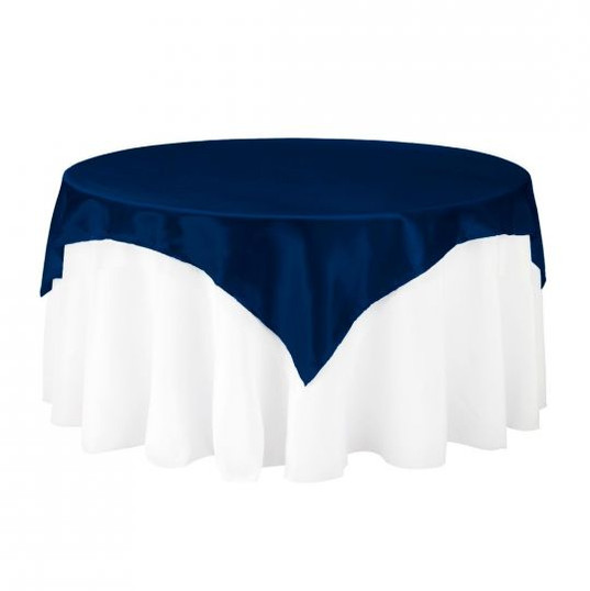 Navy Blue Satin Table Overlay