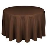 """108"""" Brown Round Tablecloth"""