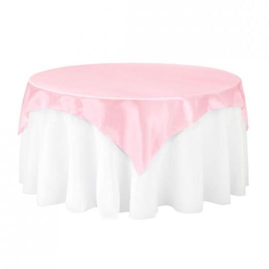 Pink Satin Table Overlay