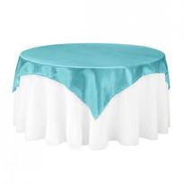 Turquoise Satin Table Overlay