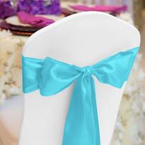 Carribean Blue Satin Chair Sash