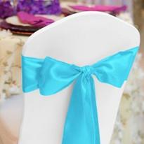 Turquoise Satin Chair Sash