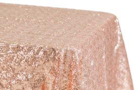 "90x132"" Blush Diamond Sequins Tablecloth"