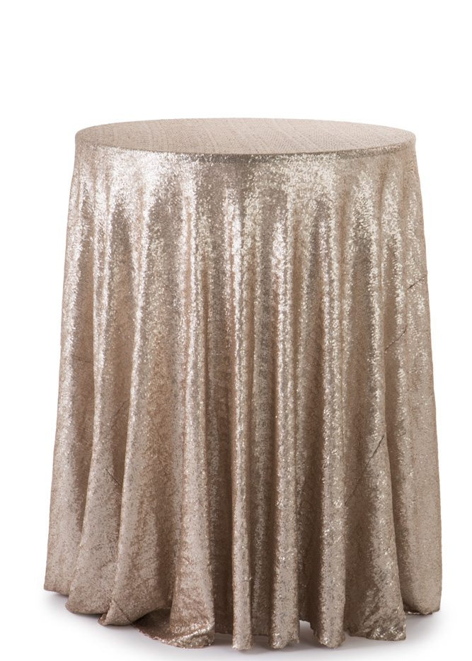 """120"""" Round Champagne Sequins Tablecloth"""