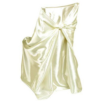 Ivory Satin Universal Chair Cover