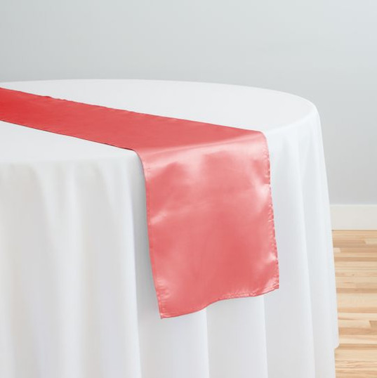Coral Satin Table Runner