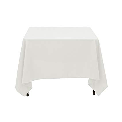 "72"" White Square Tablecloth"