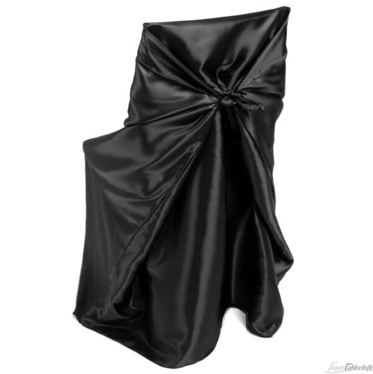 Black Satin Universal Chair Cover