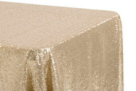 """90x132"""" Champagne Sequins Tablecloth"""