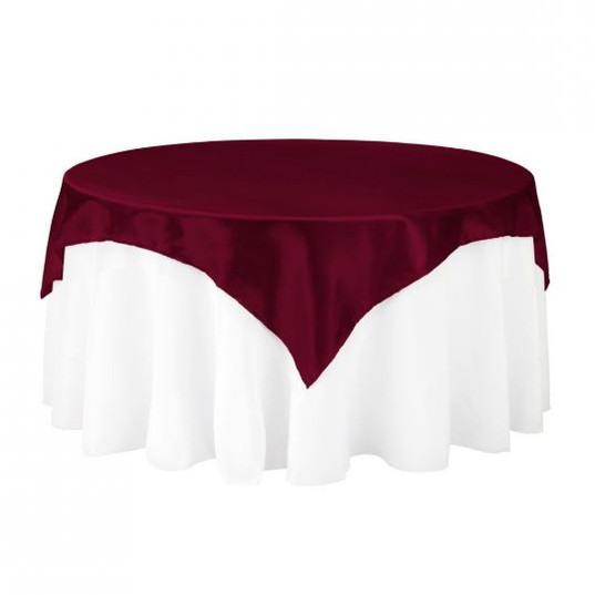 Burgundy Satin Table Overlay