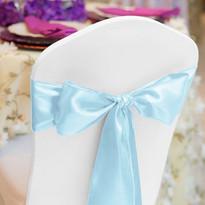 Baby Blue Satin Chair Sash