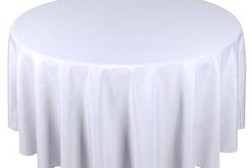 "108"" & 120"" Round White Tablecloths"