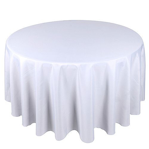 "108"" & 120"" Round White Tablecloths"