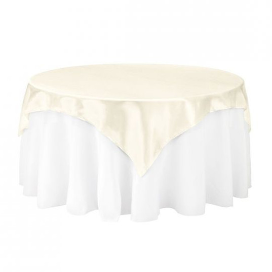 Ivory Satin Table Overlay