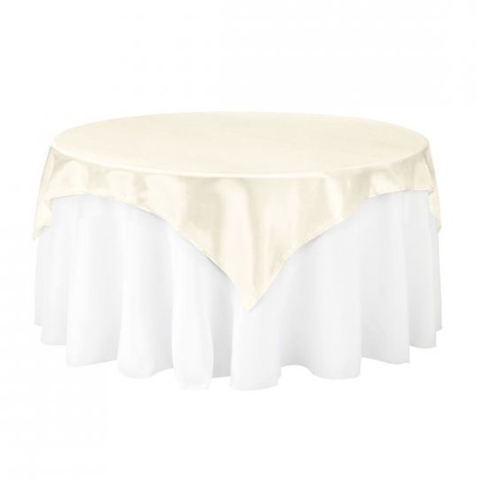 Ivory Satin Table Overlay