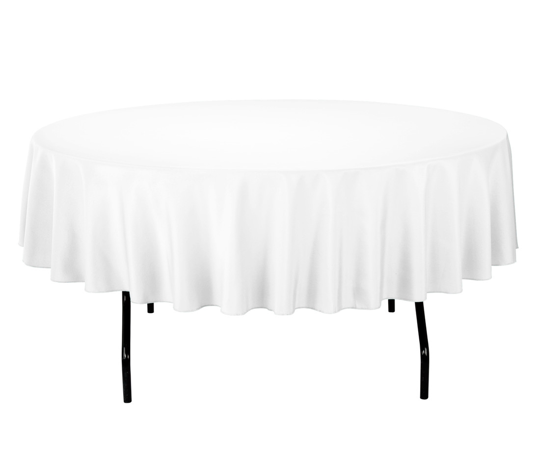 "90"" Round White Tablecloth"
