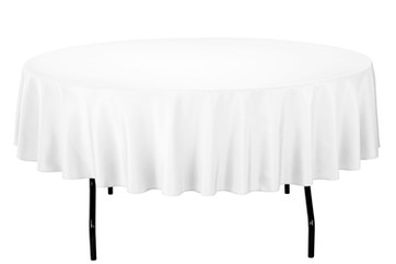 "90"" Round White Tablecloth"