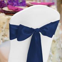 Navy Blue Satin Chair Sash