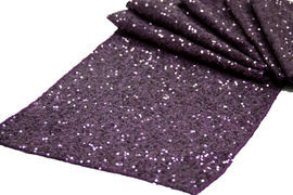 Eggplant Sequins Table Runner