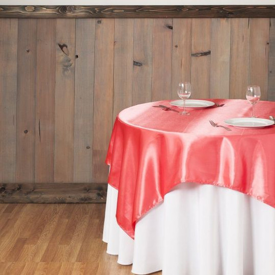 Coral Satin Table Overlay