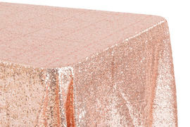"90x132"" Blush Sequins Tablecloth"