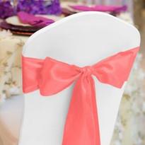 Coral Pink Satin Chair Sash