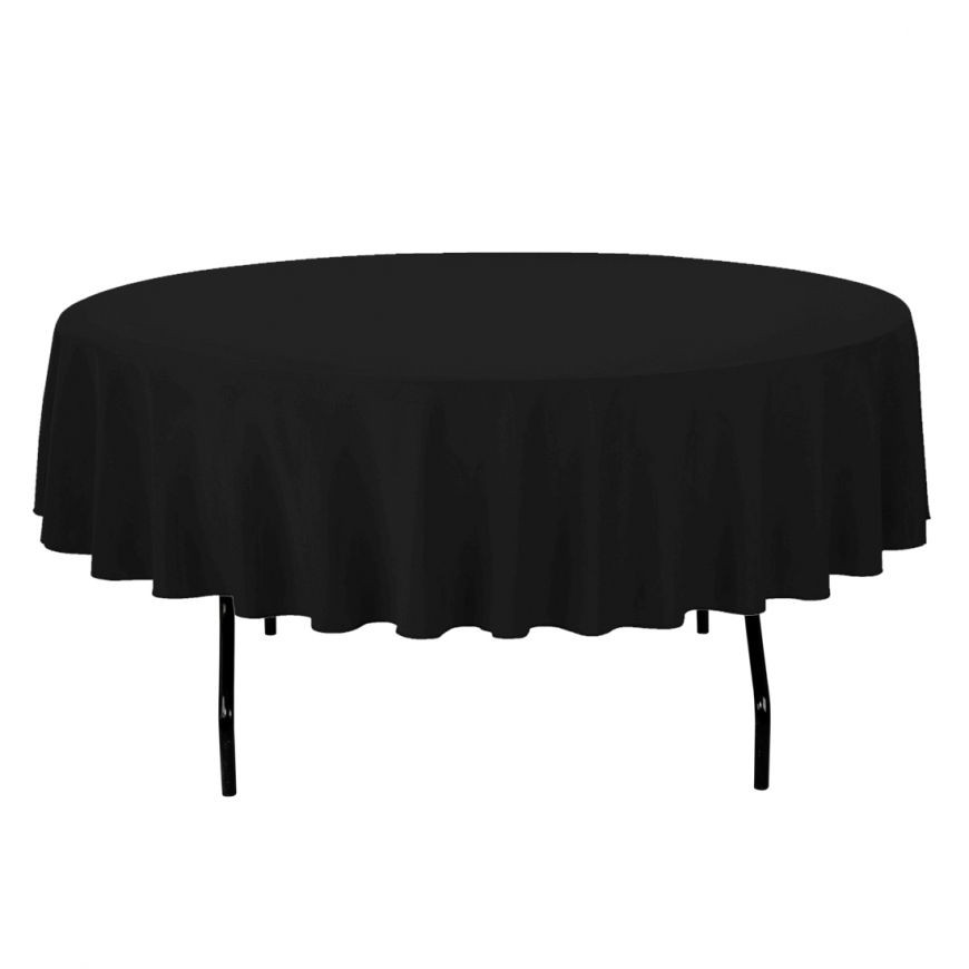 "90"" Black Round Tablecloth"