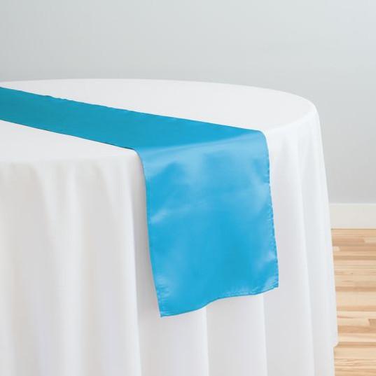 Caribbean Blue Satin Table Runner
