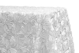 "90x156"" White Rosette Satin Tablecloth"