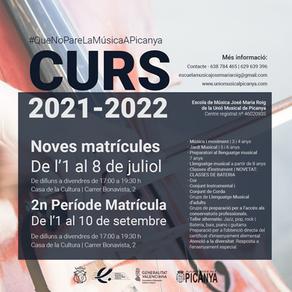 Matrícula Escola de Música curs 2021-2022