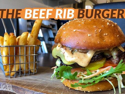 Beef Rib Burger and chips