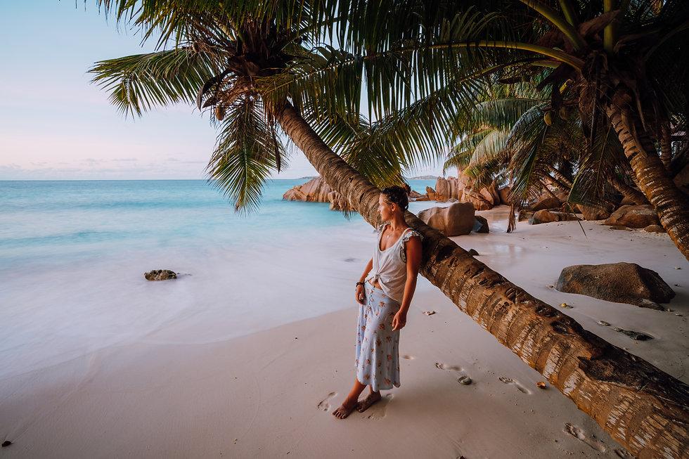 La Digue, Seychelles. A woman near cocon