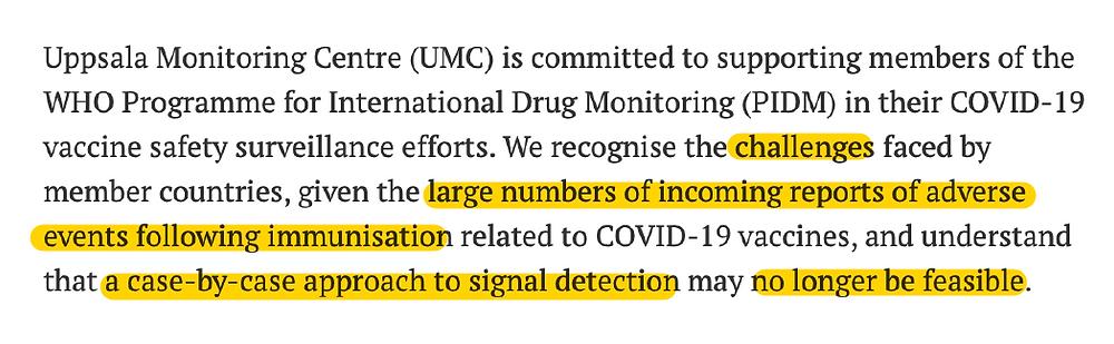 WHO UMC VigiBase, Covid Impf Verdachtsfaelle Auswertungsprobleme wg. hoher Fallzahlen 23.03.21