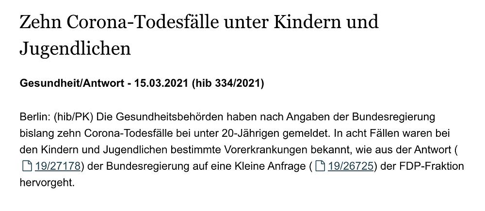Auskunft Bundesregierung auf FDP Anfrage: nur 10 Todesfälle unter Kindern bis 20 Jahre, 15.03.21