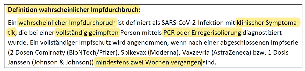 RKI Covid-19 Wochenbericht 38, Definition wahrscheinlicher Impfdurchbruch, S.19, 30.09.21