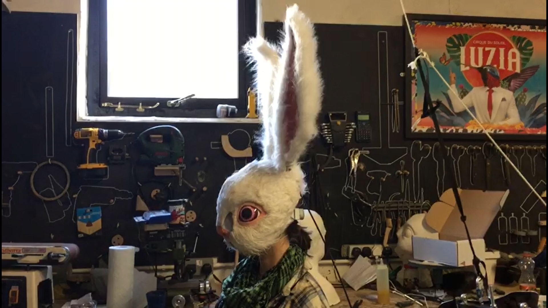 White Rabbit Mask Ears up