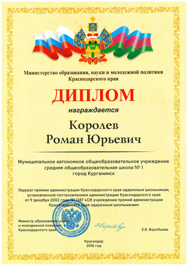 Диплом премия 2018