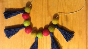 Felt ball and tassel necklaces