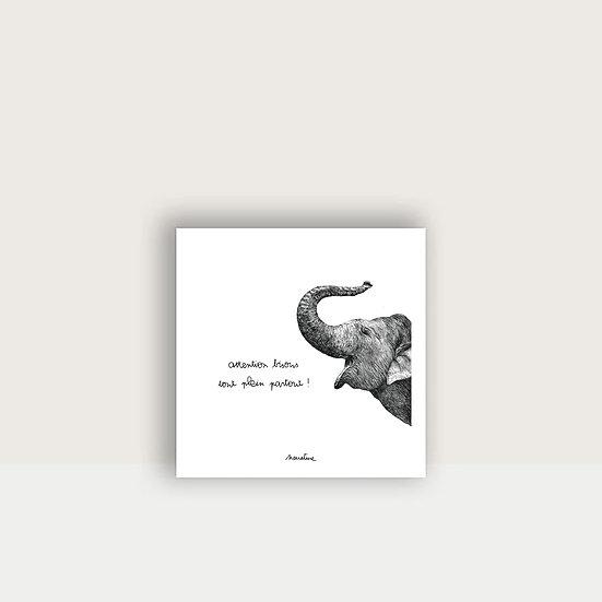 """Carte """" Léon l'éléphant """""""