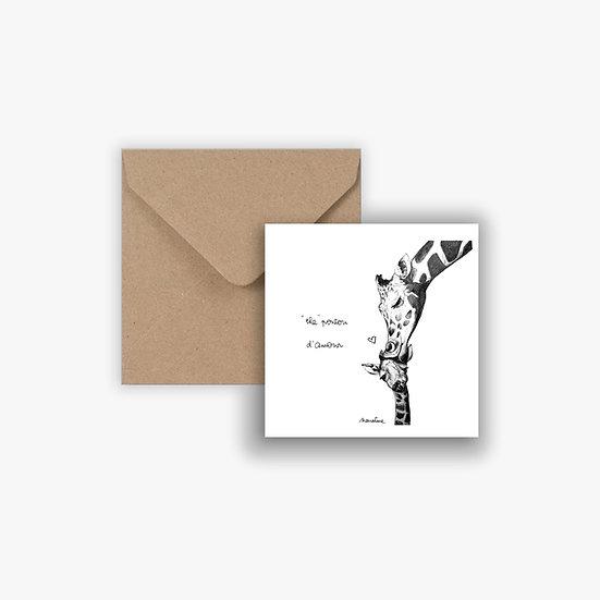 "Carte "" Ingrid girafe gros poutou """