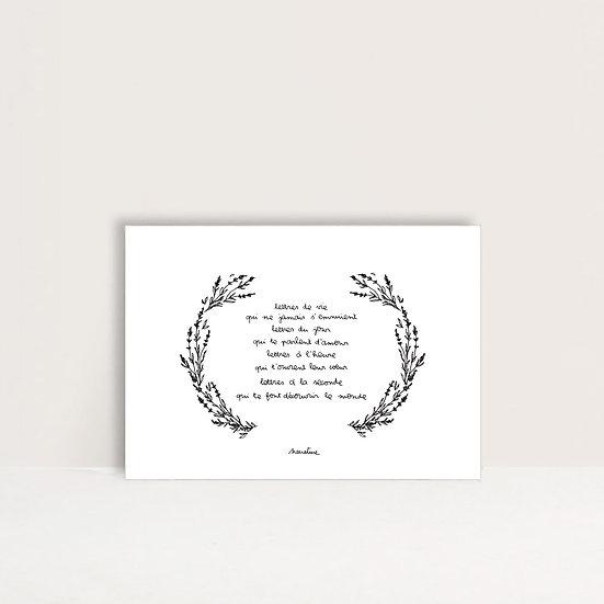 """Carte"""" lettres de vie """""""