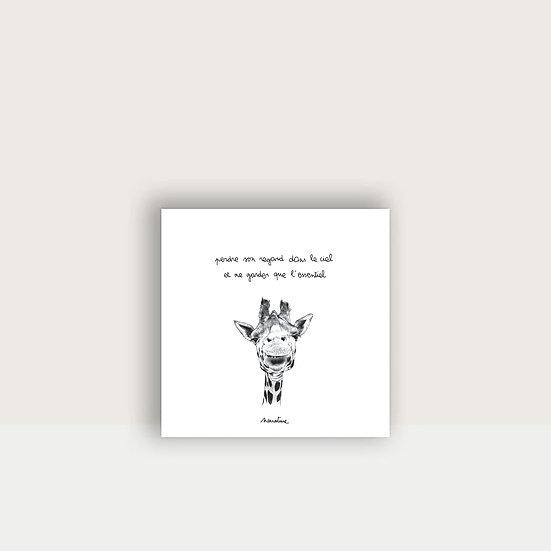 """Carte """" Ingrid la girafe """""""