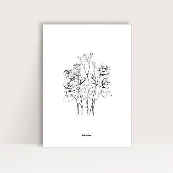 """Affichette """" Roses """""""