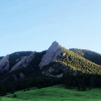 Boulder's iconic sandstone cliffs, the Flatirons