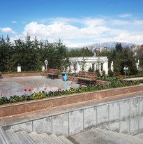 Tulips grow in Somoni Park, Central Dushanbe