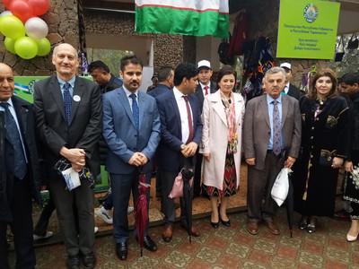 Rett with members of the Afghan delegation and Deputy Mayor Muini Muinzoda at the Uzbekistan Embassy in Dushanbe
