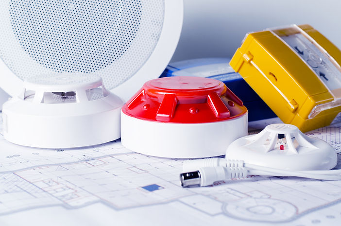 fire-security-equipment-and-blueprint-on