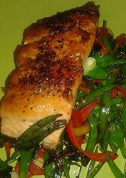 Pan Seared Teriaki Salmon with Chinese Greens
